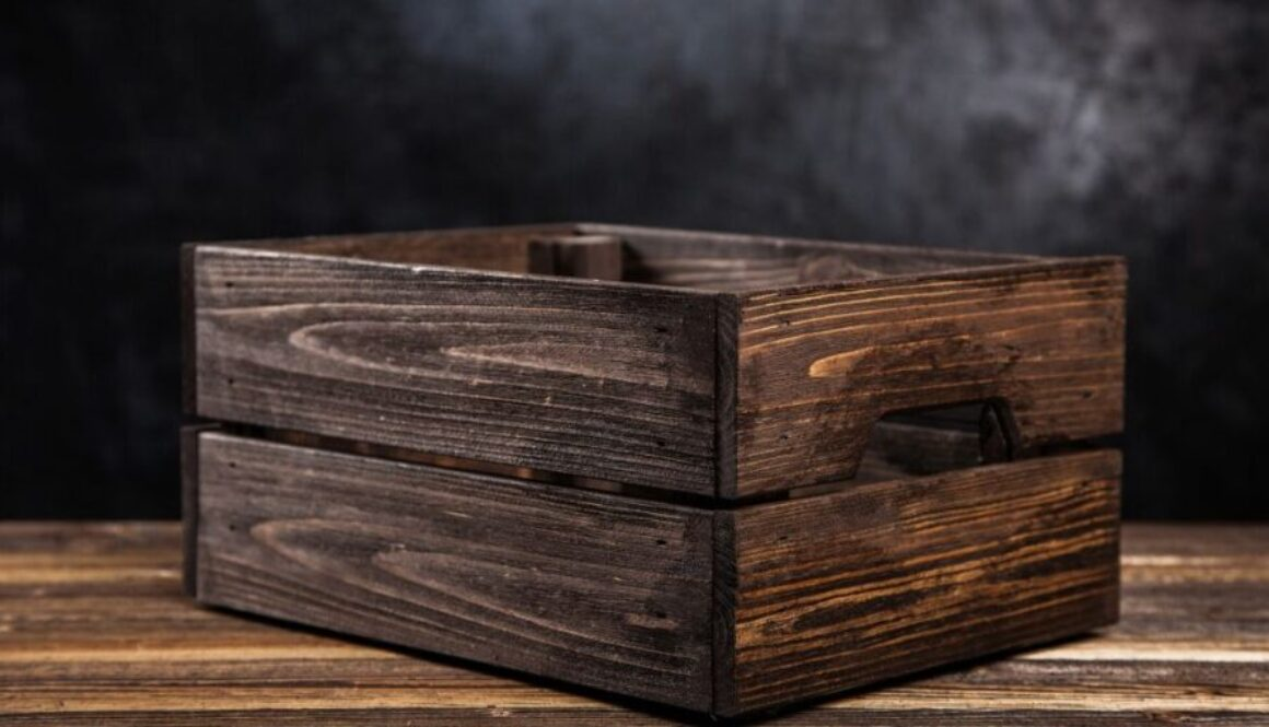 One of the vintage wood crates.