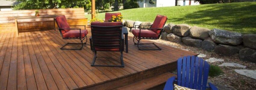An outdoor deck built using the best woods.