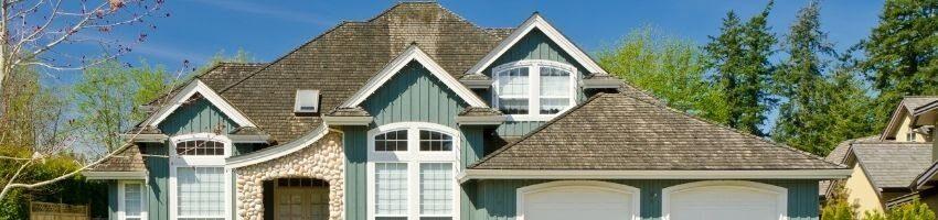 A facade of a west-facing house.