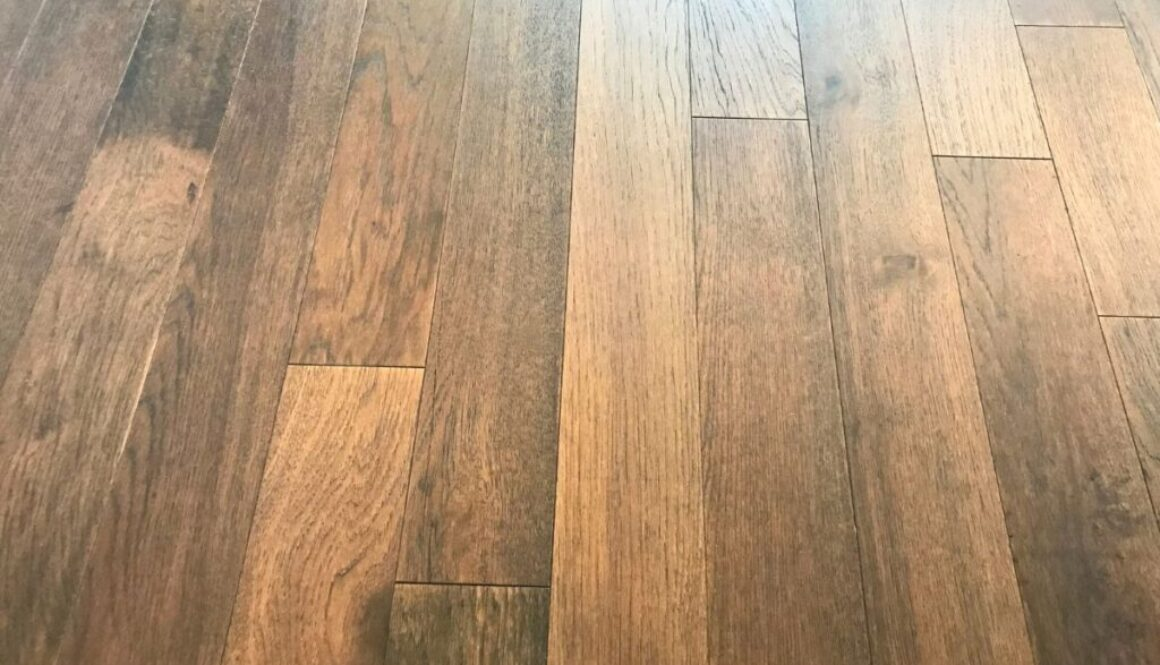 A hardwood floor with a beautiful stain and finish.