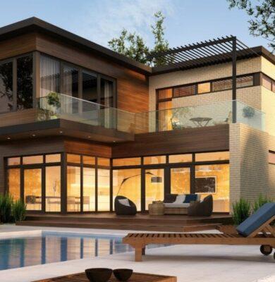 A beautiful modern house landscape view outside